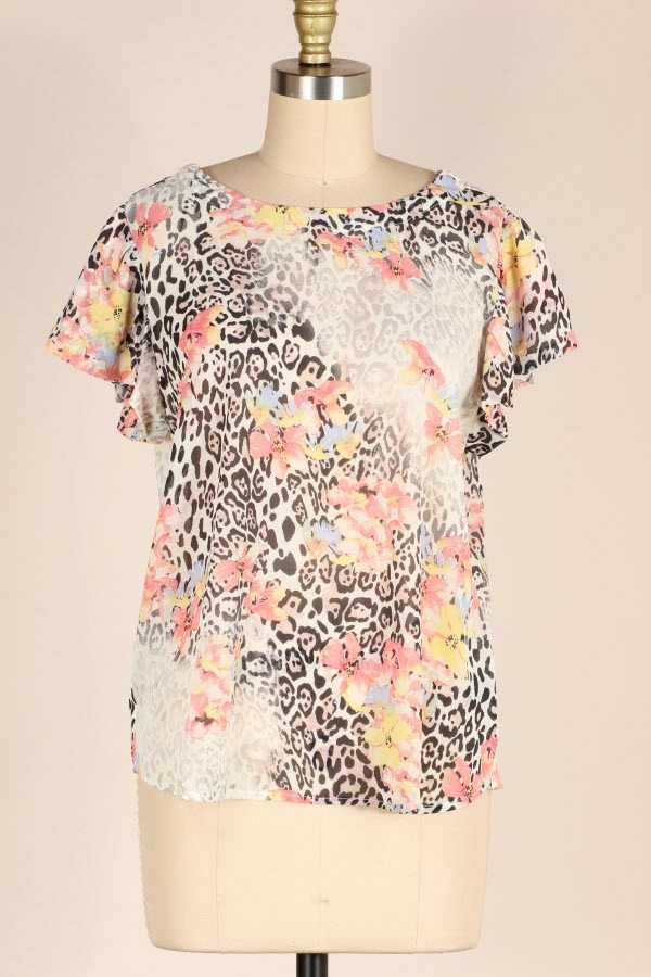 RIBBON BACK RUFFLE SLEEVE SHEER LEOPARD FLORAL PRINT TUNIC TOP