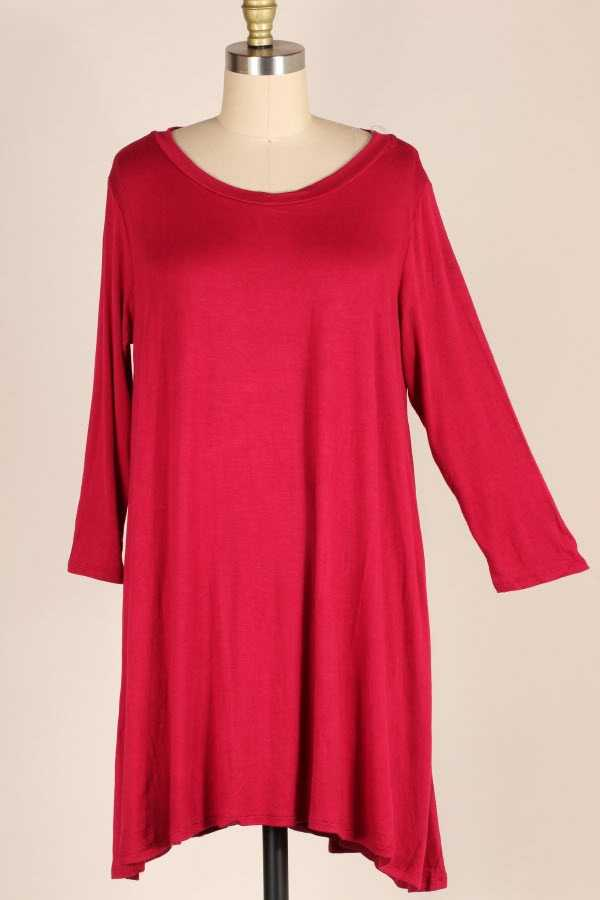 PLUS SIZE 2/3 SLEEVE SOLID DRESS