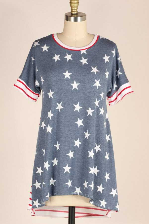 PLUS SIZE STRIPED STAR PRINT CONTRAST TUNIC TOP