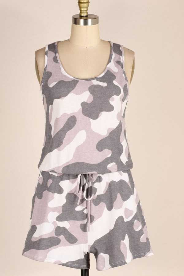 CAMOUFLAGE PRINT SLEEVELESS ROMPER WITH POCKETS