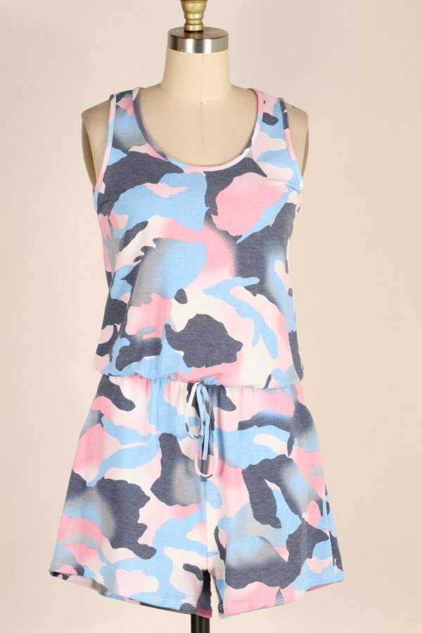 PLUS SIZE CAMOUFLAGE PRINT SLEEVELESS ROMPER WITH POCKETS