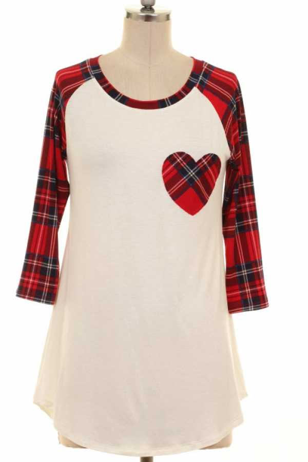 CHECKERED SLEEVE HEART PATCH CONTRAST TUNIC TOP