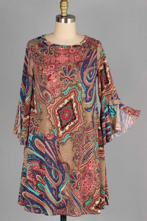 PLUS SIZE SLIT RUFFLE SLEEVE PAISLEY PRINT DRESS WITH POCKETS