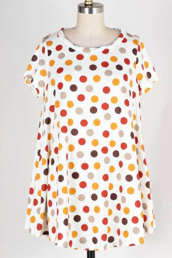 PLUS SIZE POLKA DOT PRINT TUNIC TOP WITH POCKETS