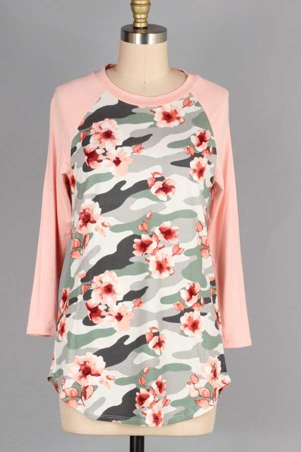 CAMOUFLAGE FLORAL PRINT CONTRAST TUNIC TOP