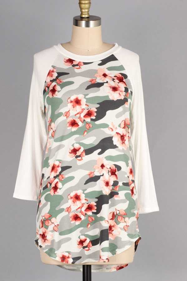 PLUS SIZE CAMOUFLAGE FLORAL PRINT CONTRAST TUNIC TOP