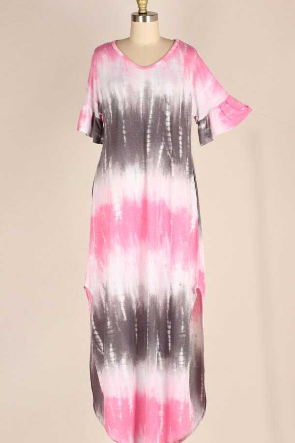 RUFFLE SLEEVE TIE DYE STRIPED MAXI DRESS WITH POCKETS