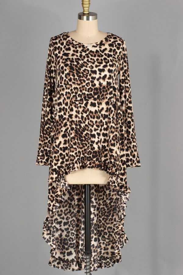 PLUS SIZE LEOPARD PRINT RUFFLED HIGH LOW TUNIC TOP