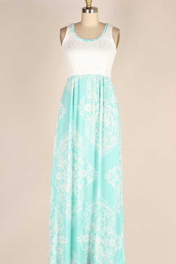 PLUS SIZE LACE CONTRAST BAROQUE PRINT MAXI DRESS WITH POCKETS