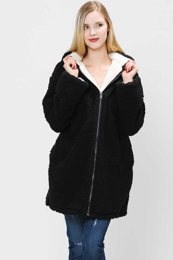 SOLID FAUX FUR HOODED TOP