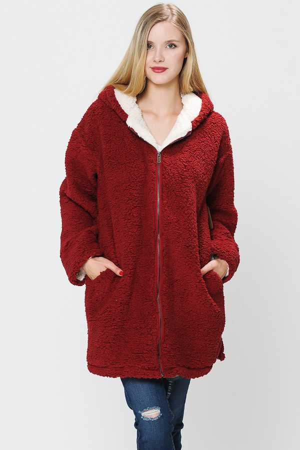 PLUS SIZE SOLID FAUX FUR HOODED TOP