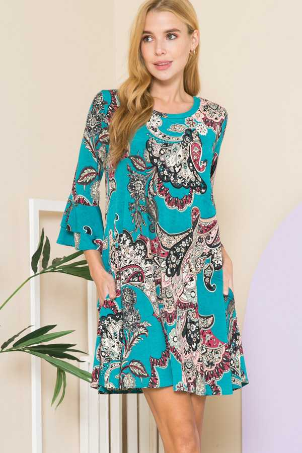 PLUS SIZE-PAISLEY PRINT RUFFLE SLEEVE DRESS