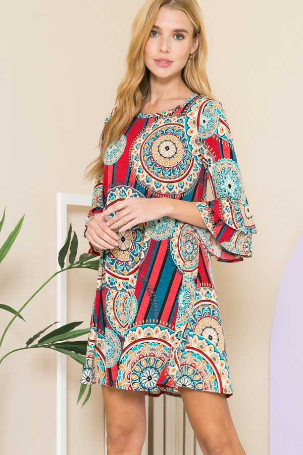 RUFFLE SLEEVE GEO PRINT DRESS W POCKWTS