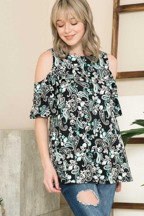 PLUS SIZE-PAISLEY PRINT COLD SHOULDER TOP