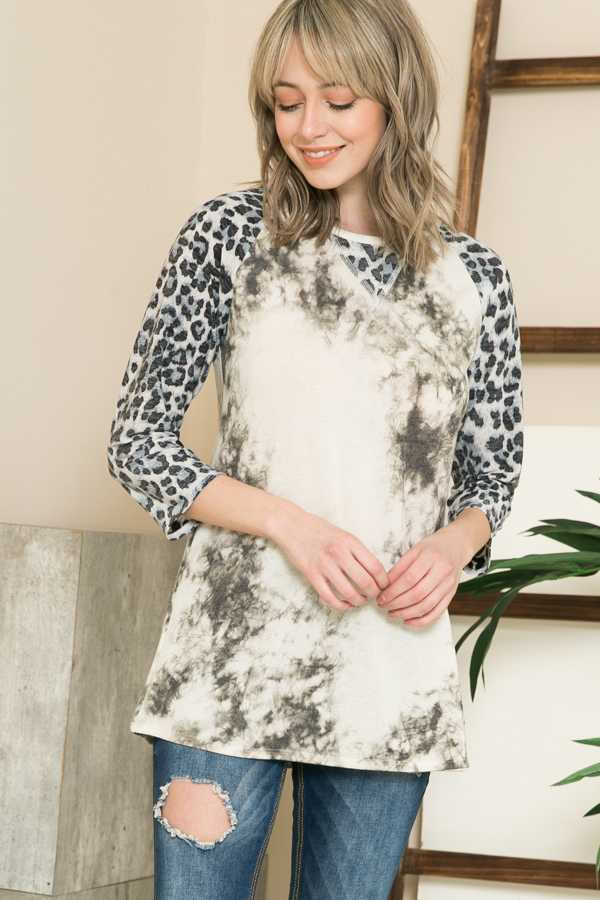 PLUS SIZE-LEOPARD SLEEVE CONTRAST TUNIC TOP