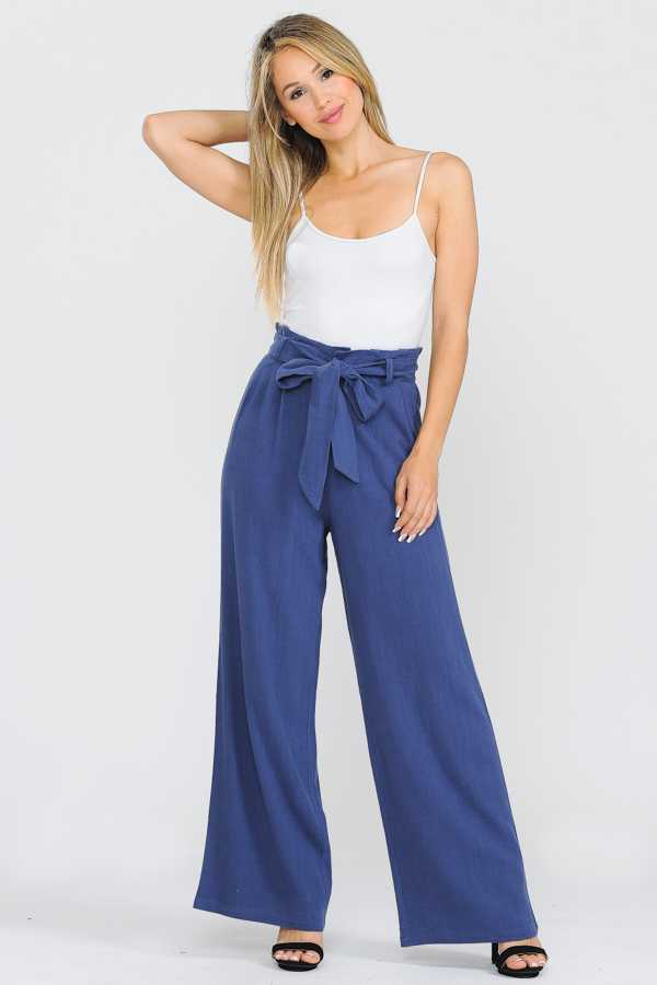 PLUS SIZE RIBBON BELTED WIDE LEGGED PANTS