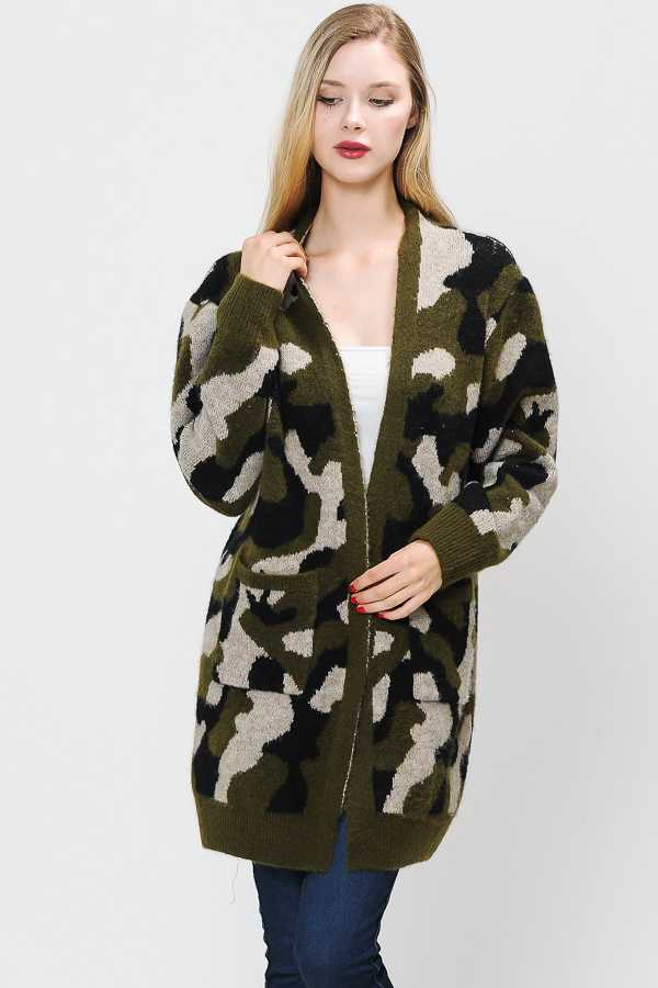 PLUS SIZE CAMOUFLAGE OPEN KNIT CARDIGAN