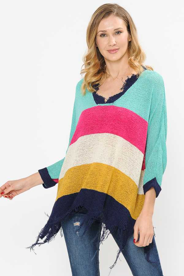 PLUS SIZE FRAYED EDGE COLOR BLOCK KNIT TOP
