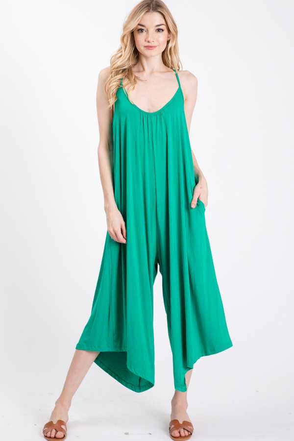 SLEEVELESS STRAP JUMPSUIT WITH SIDE POCKETS