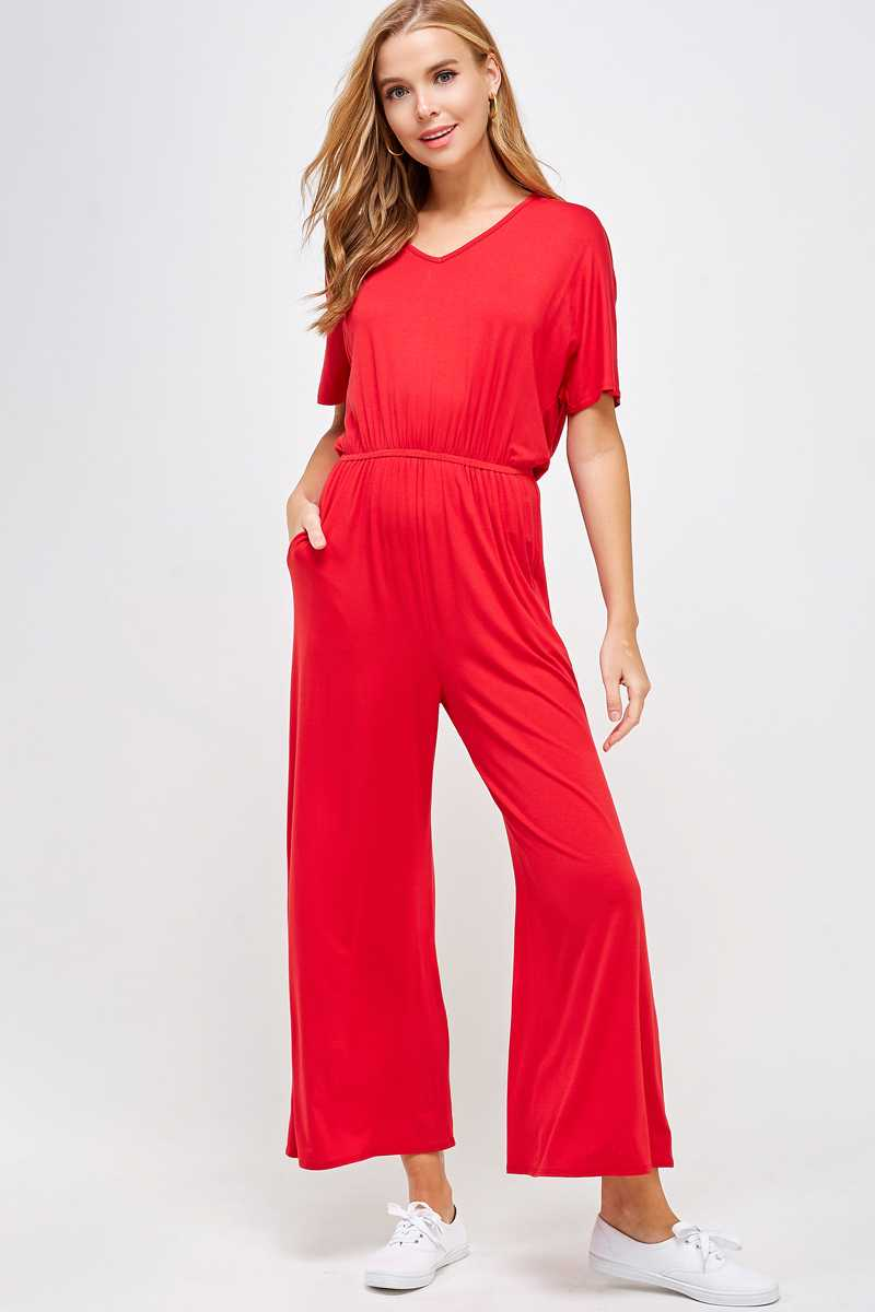 SOLID PRINT WIDE LEG JUMPSUIT WITH POCKETS