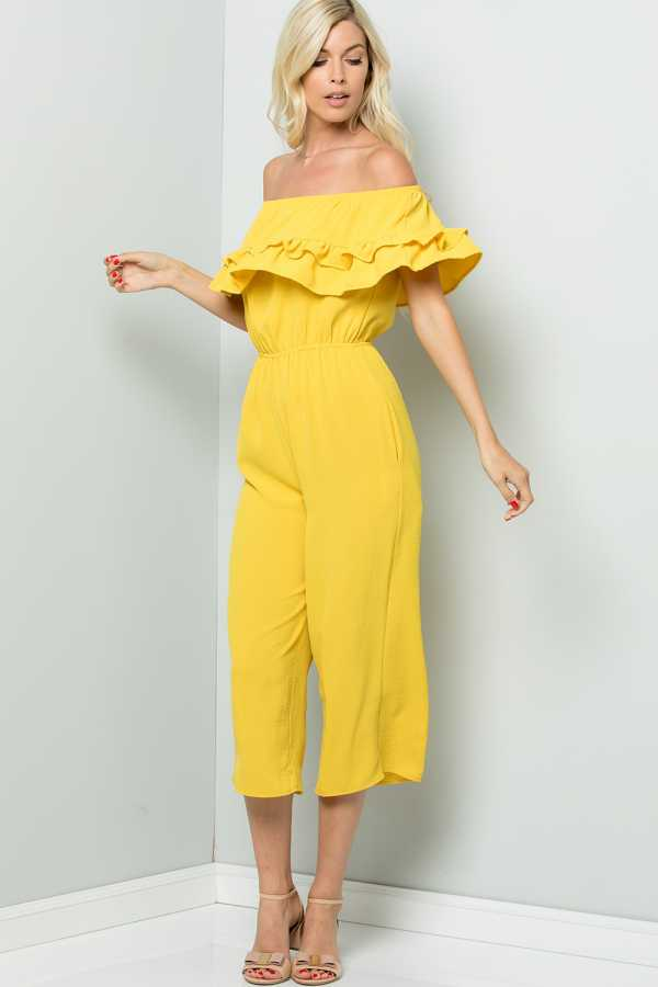 OFF SHOULDER RUFFLED SOLID JUMPSUIT WITH POCKETS