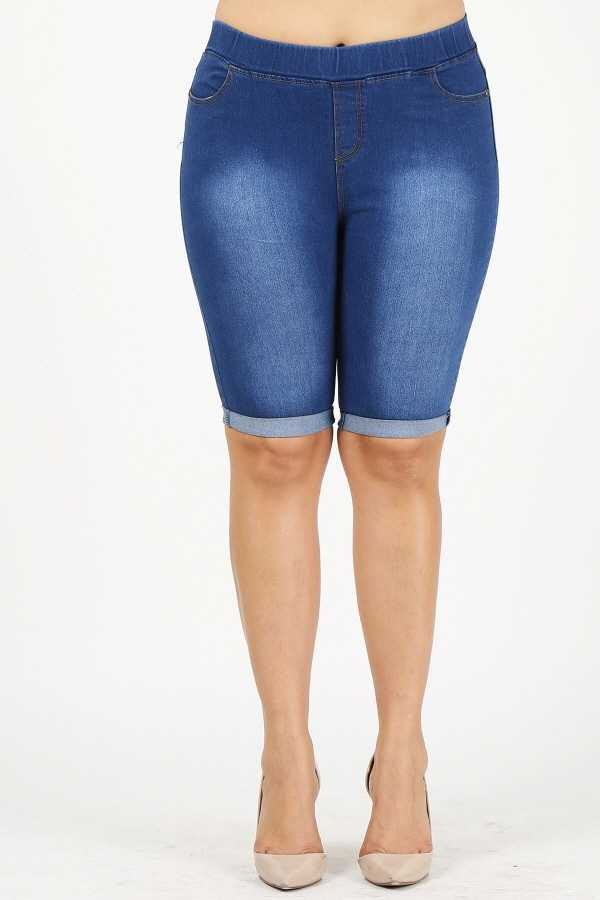 PLUS SIZE WASHED BERMUDA SHORTS