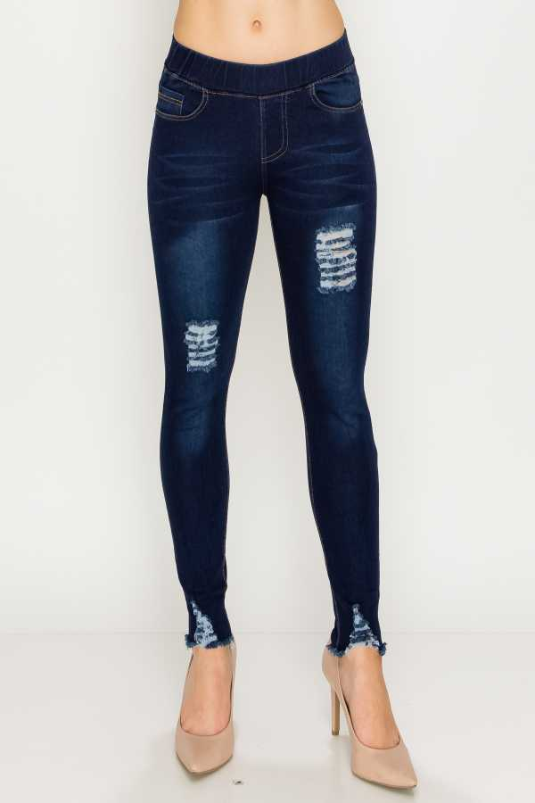 RIPPED BANDED DENIM LEGGINGS