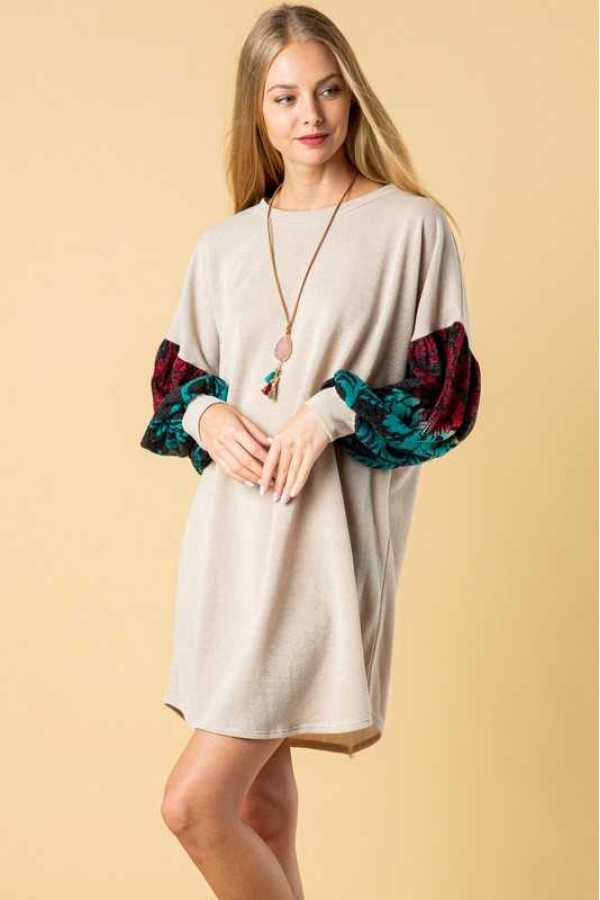 PLUS SIZE DAMASK PATTERN BUBBLE SLEEVE KNIT DRESS