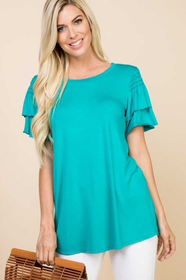 RUFFLE SLEEVE TUNIC TOP