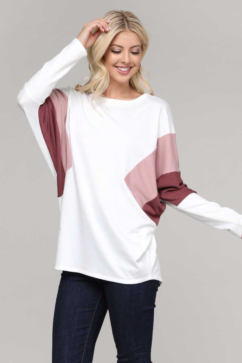 COLORBLOCKED BAT WING TUNIC TOP