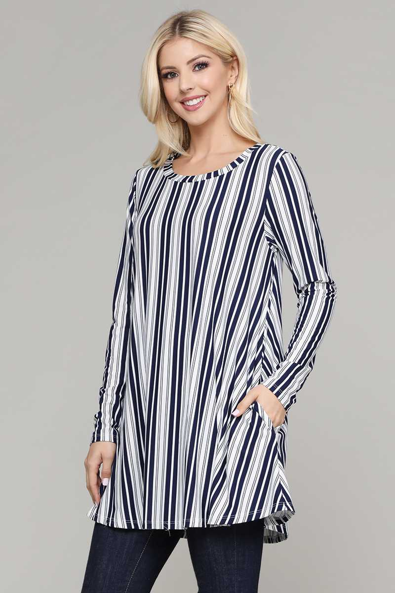 STRIPE PRINT POCKETS DETAILED TUNIC TOP