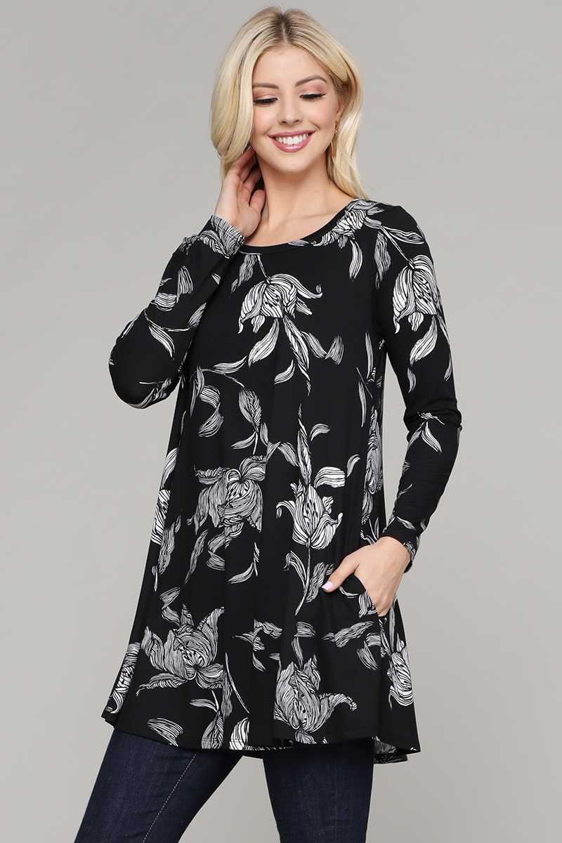 FLORAL PRINT POCKETS DETAILED TUNIC TOP