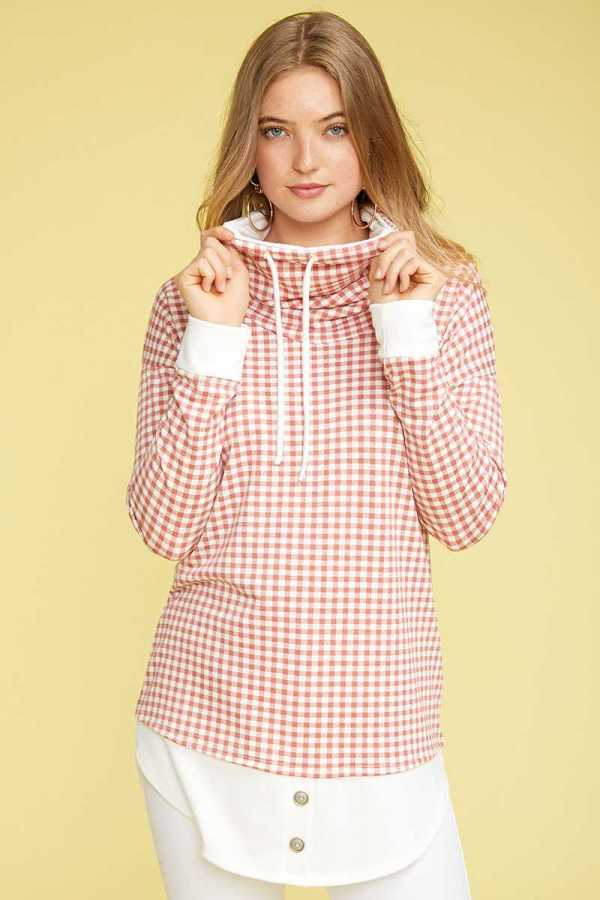 GINGHAM TURTLE NECK TOP