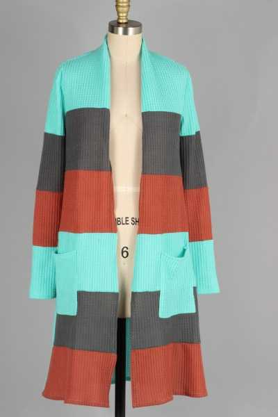 COLOR BLOCK KNIT CARDIGAN W POCKETS