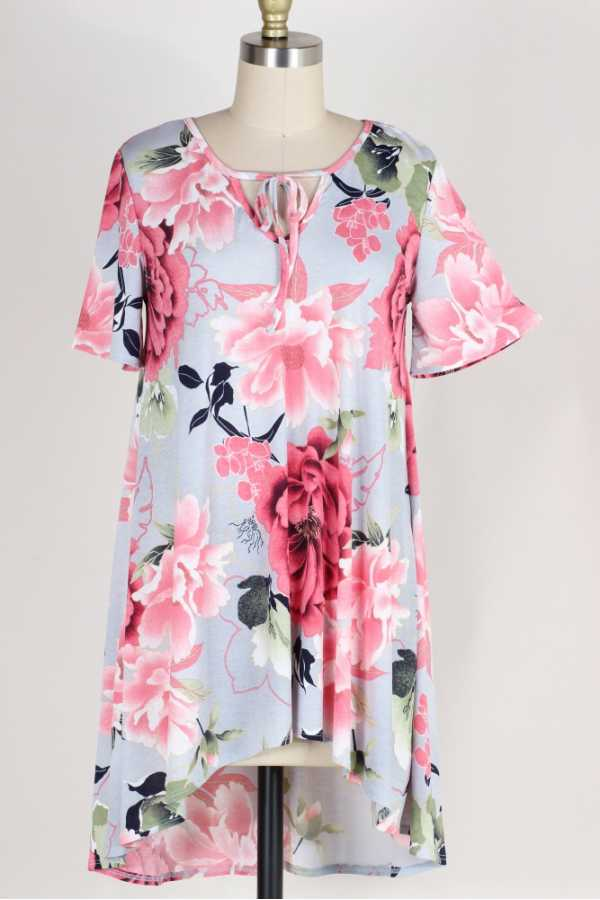 HI LOW HEM FLORAL PRINT TUNIC TOP