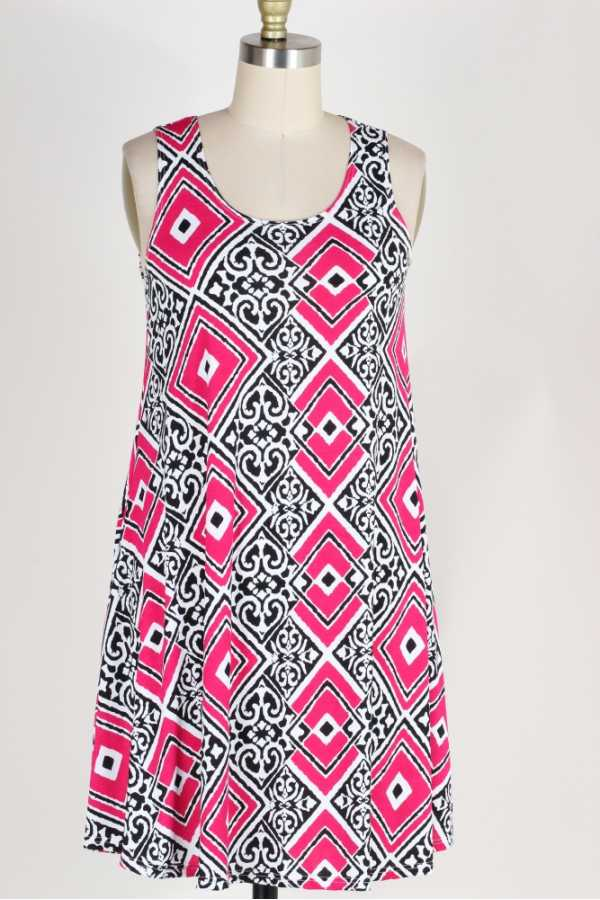 PLUS SIZE-SIDE POCKETS DETAIL GEO PRINT DRESS