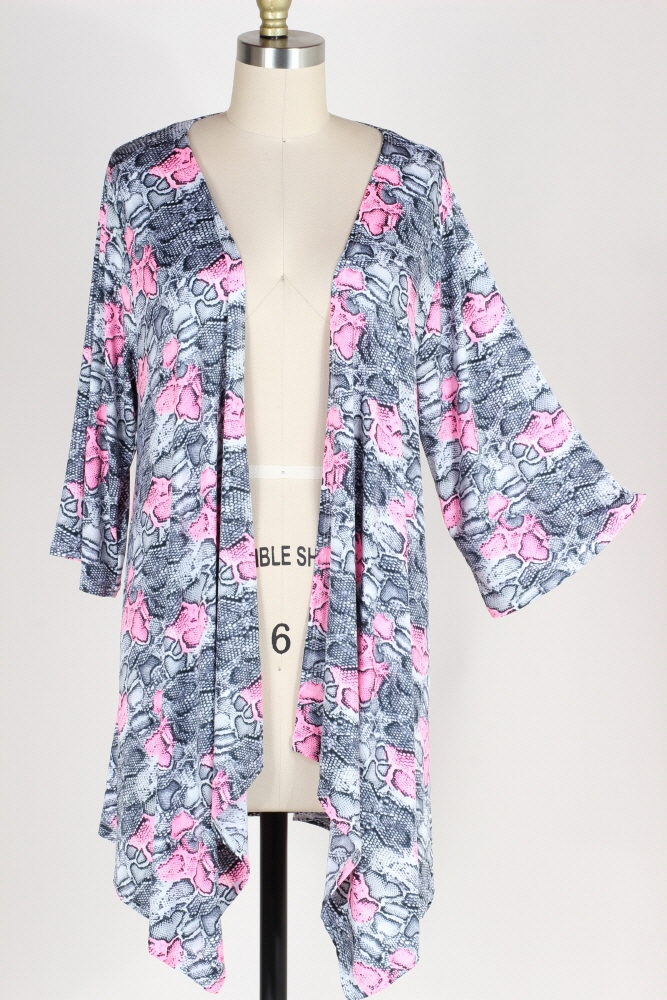 PLUS SIZE-LOOSE FIT SNAKE PRINT CARDIGAN