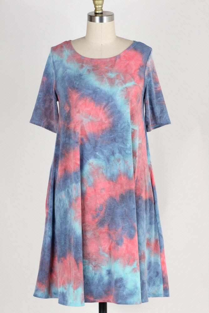 PLUS SIZE-TIE DYE PRINT DRESS W POCKETS