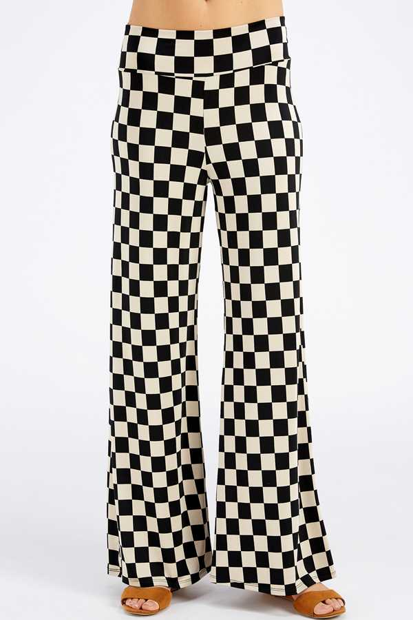 PLUS SIZE WIDE LEGGED CHECKER PRINT PANTS