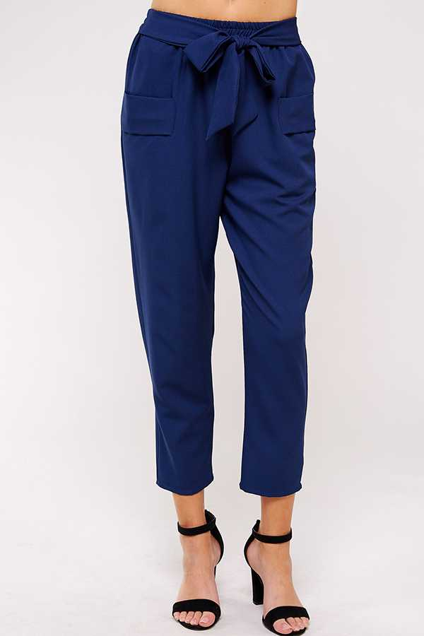 RIBBON BELT HIGH WAISTED TROUSERS WITH POCKETS