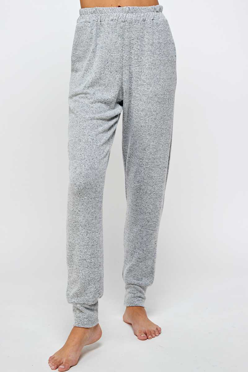 SOLID PRINT KNIT JOGGERS WITH POCKETS