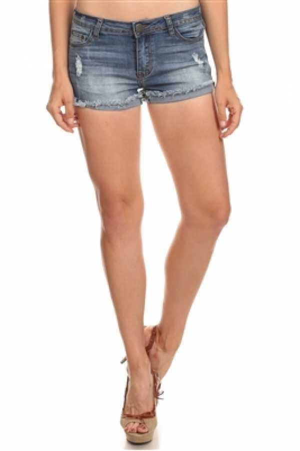 TATTERED DETAIL WASHED DENIM SHORT PANTS