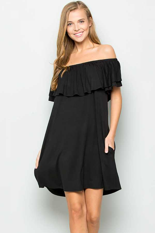 EXTRA PLUS-OFF SHOULDER SWING DRESS