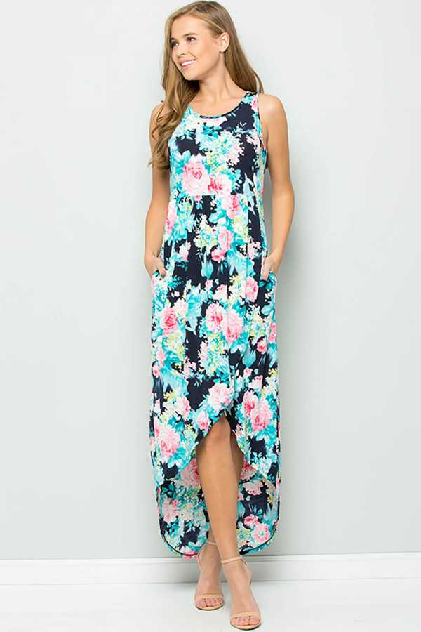 FLORAL PRINT WRAP MAXI SKIRT WITH POCKETS