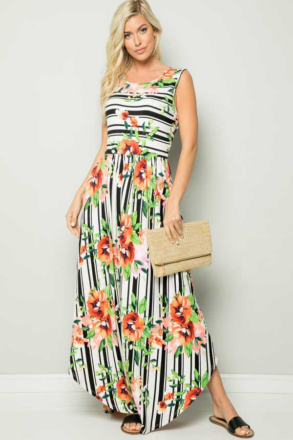 PLUS SIZE STRIPE AND FLORAL PRINT SLEEVELESS MAX