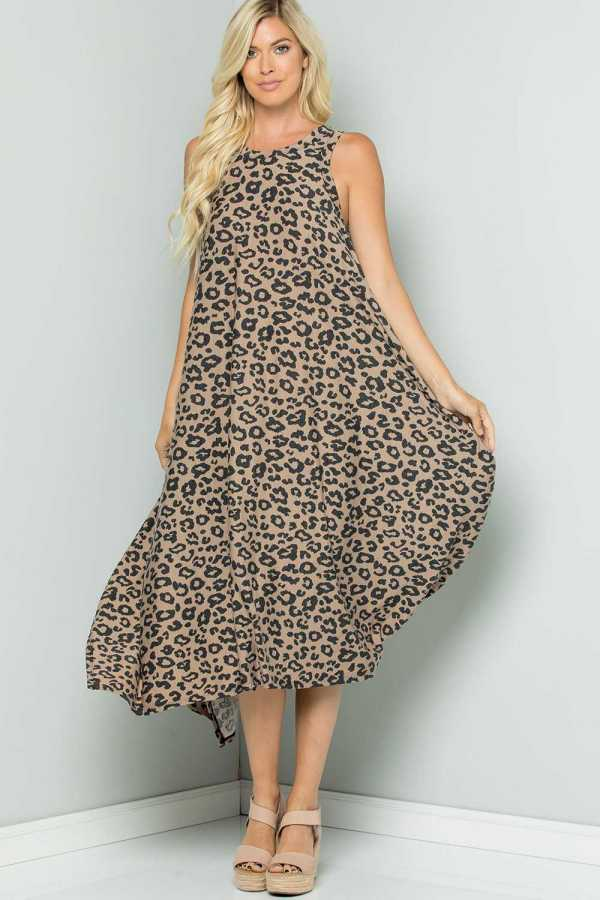 PLUS SIZE LEOPARD PRINT SLEEVELESS MIDI DRESS