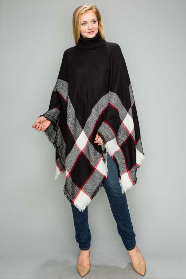 TURTLE NECK MULTI COLOR DETAILED PONCHO
