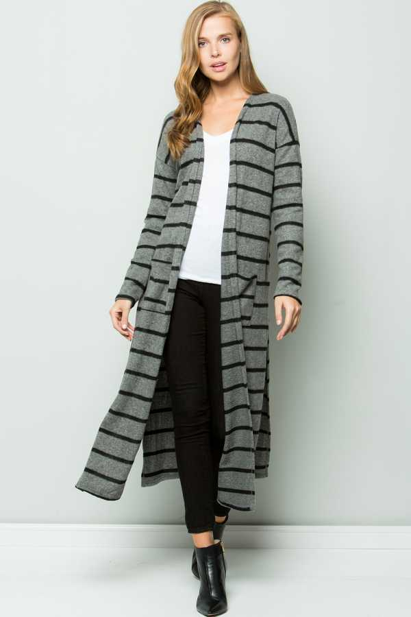 STRIPED OPEN MAXI CARDIGAN WITH POCKETS