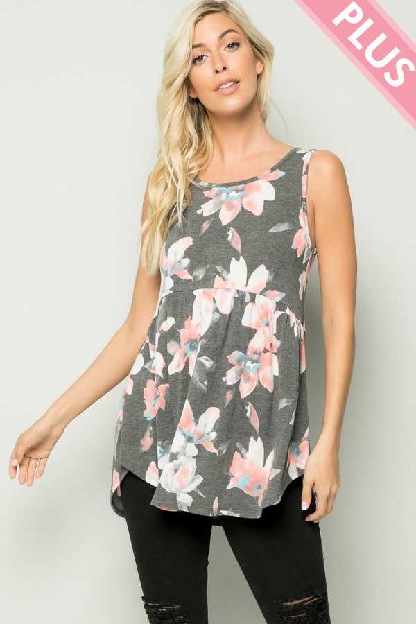 PLUS SIZE FLORAL PRINT SLEEVELESS TOP