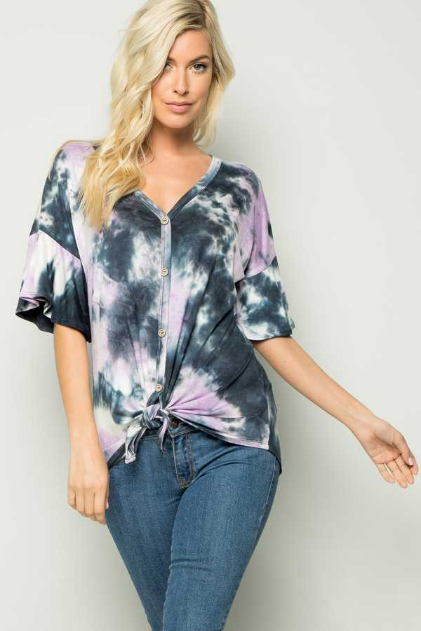 KNOTTED HEM TIE DYE PRINT BUTTON UP TOP